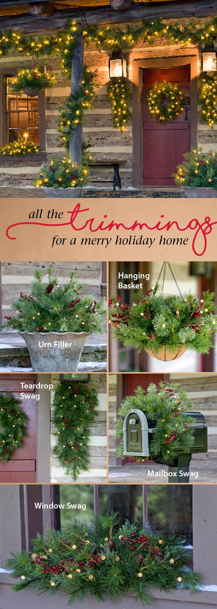 Deck the halls! All-weather holiday decor - easy and elegant. Like the look of everything. Maybe I can replicate it at a cheaper cost