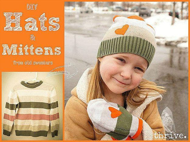 Un pull peut être transformé en bonnet et moufles pour enfant.   28 objets du quotidien à transformer pour vos enfants