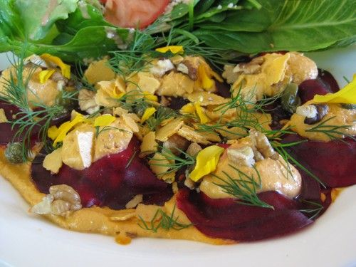 #raw Cashew Cheese filled #Beetroot #Ravioli from It's Rawsome Cafe