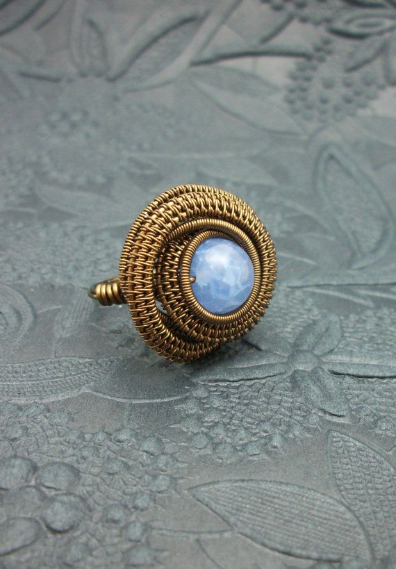 Wire Wrapped Blue Fire Agate Ring in by BuyThePlaceWithBeads, $13.00
