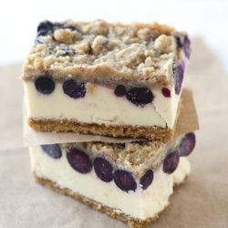 Easy cheesecake bars scented with lemon and topped with fresh sweet blueberries and a crumb topping.