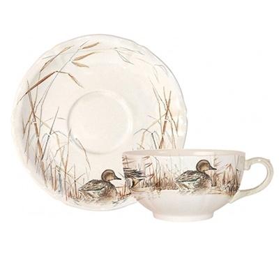 """Чашка для завтрака с блюдцем Gien 320мл """"Солонь"""":"""
