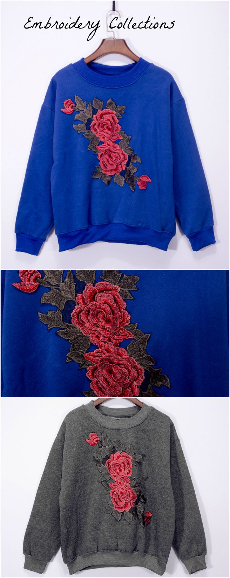 ❤️ On Sale : An Embroidery Sweater with Rose Embroidery is now available at Pasaboho. This pullover exhibit unique embroidered floral patterns. ❤️ Street Style :: Autumn Sweater :: Embroidery Pullover :: boho chic :: Rose Embroidery :: Gray :: Blue :: Outfit Ideas :: Fashion Trend