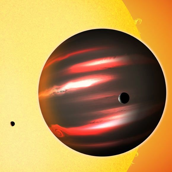 """""""We determined the weather on these alien worlds (Kepler-5b, -6b, -7b, -8b, -10b, -12b, -41b, -43b, -76b, -91b, -412b, TrES-2b, HAT-P-7b and KOI-13b) by measuring changes as the planets circle their host stars, and identifying the day-night cycle. We traced each of them going through a cycle of phases in which different portions of the planet are illuminated by its star,"""" said Lisa Esteves. An artist's conception of the gas giant exoplanet TrES-2b. Image credit: David A. Aguilar / CfA."""