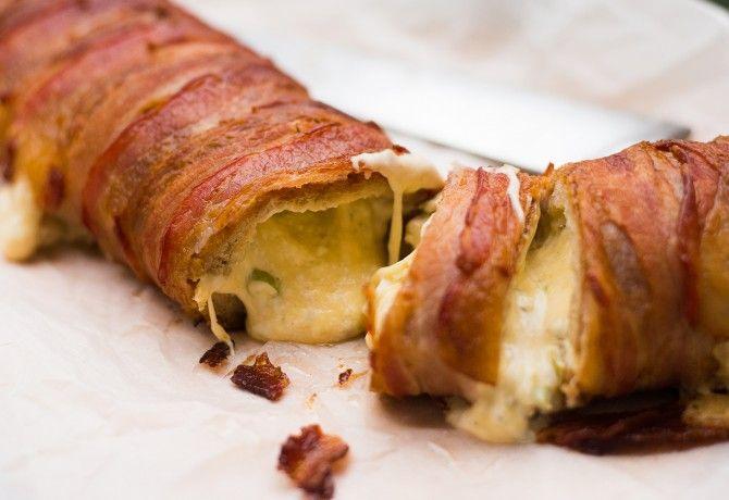 Dupla sajtos-jalapenos, baconbe tekert baguette