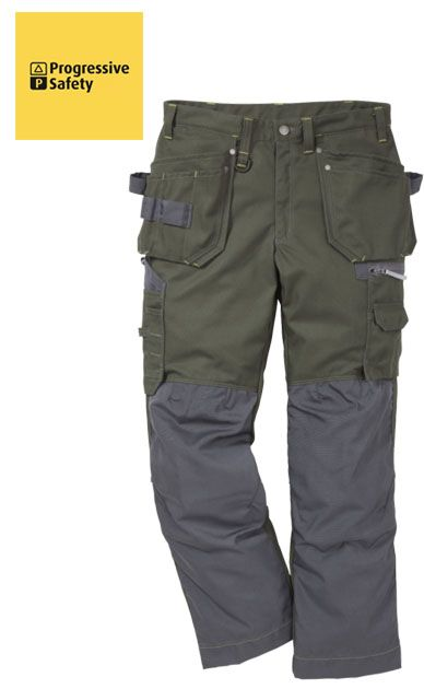 GEN-Y WORKER TROUSER GREEN REG - 60% Cotton, 40% polyester, 350gm green contrast seams, two loose outside pockets, one with extra pocket and one with three smaller pockets and tool loop, two front pockets, two back pockets, thigh pocket with zip, multi-function pocket, to hold folding ruler, mobile phone, ID card, pencils and knife. - www.psf.co.uk