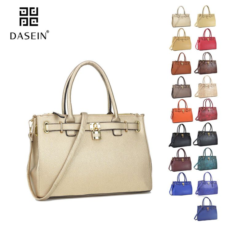 bddccf2c4678 New Women Handbag Faux Leather Work Satchel Briefcase Tote Shoulder Padlock  Bag