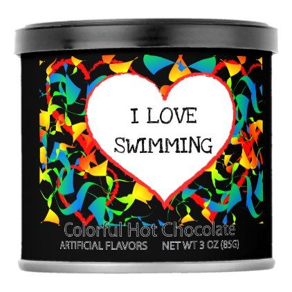 I Love Swimming Sports Editable Modern Abstract Powdered Drink Mix - pattern sample design template diy cyo customize