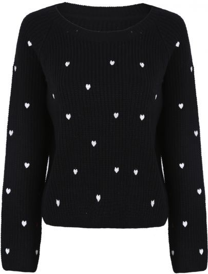 Hearts Embroidered Sweater