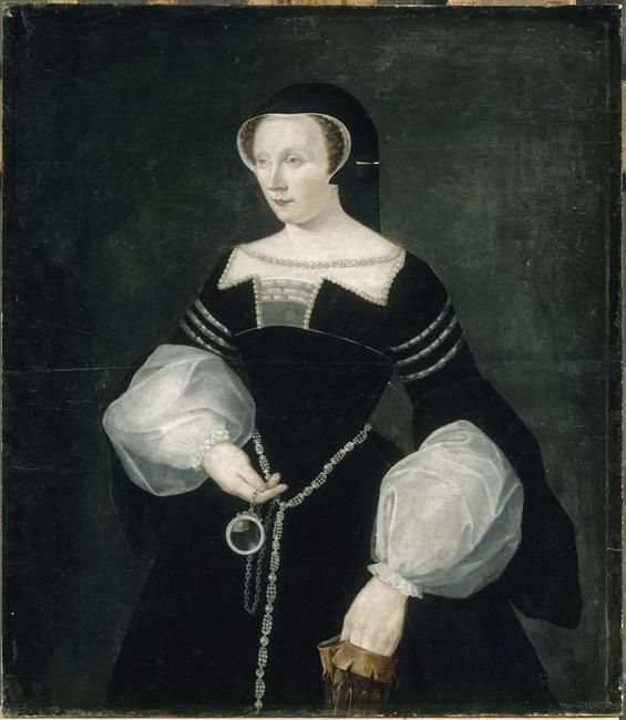 1550 Diane de Poitiers after François Clouet. Her headdress in this and the next image is unusual and not really a French hood. The object she holds could be a lens. Catherine was a widow when she became involved with Henri II, demonstrated by the black and white dress and hood worn in this portrait.