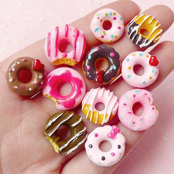 Kawaii Donut Cabochon Mix (11pcs) Assorted Miniature Doughnut Set Dollhouse Sweets Mix Decoden Kitsch Jewelry DIY Cellphone Deco FCAB146
