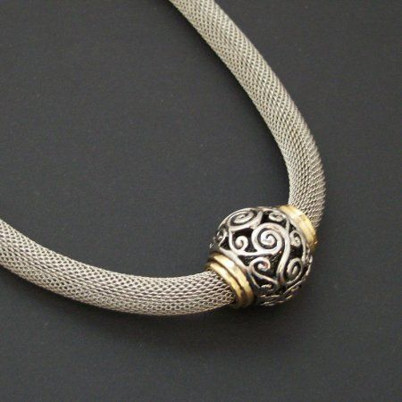 Silver Mesh Necklace | Silver Metal Mesh Tube Necklace with Sliding Silver Bead [105881] - $ ...