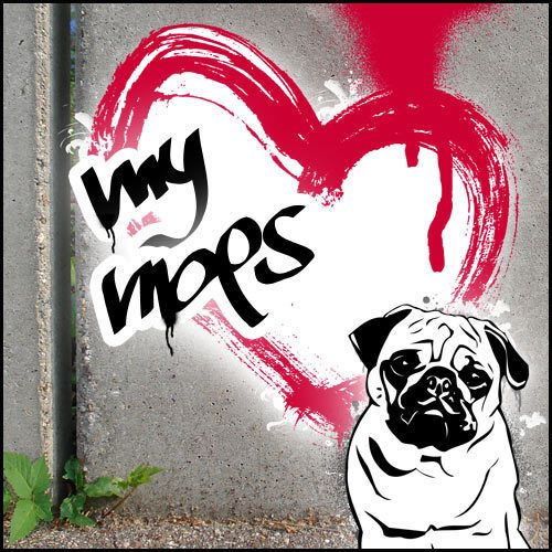Mops Streetart Style Graffiti Urban Art Poster Bild Foto Fotoposter Druck Hund L