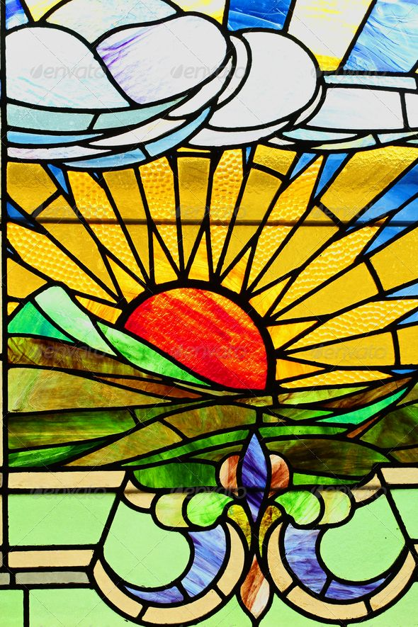 Sunset landscape in stained glass