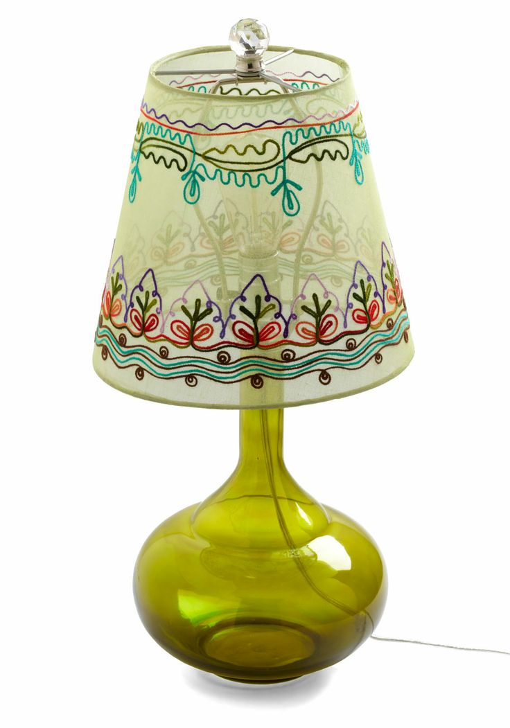 Come Bright In Lamp in Green by Karma Living: Retro Vintage Decor, Awesome Lamps, Lamps Shades, Lampshades, Dorm Decor, Embroidery Design, Home Decor, Green Lamps, Modcloth Com