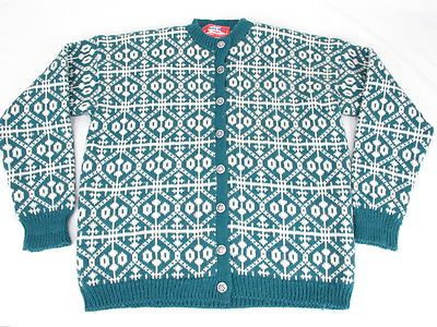 Viking Knit Cardigan Sweater Womens XL Norway Vtg | eBay