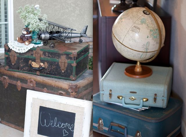 Always Me With You: My sisters baby shower: Vintage bi-planes and world travel