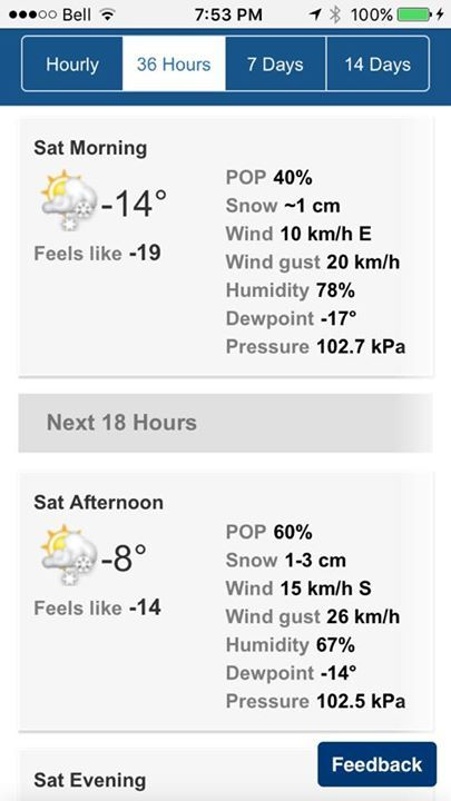 We'll be heading to Muskoka tomorrow with Travelling Chicken - Ontario Trips and Activities and just look at the temperatures Mother Nature has in store for us!  Stay warm this weekend everyone :)