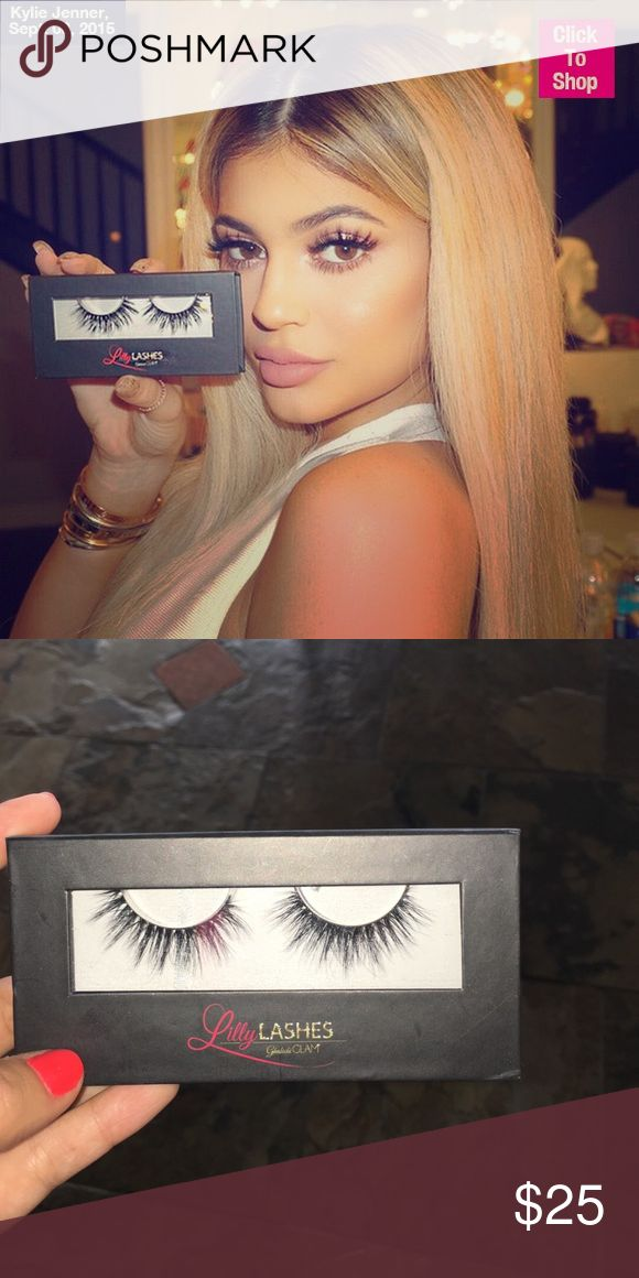 Lily Lashes- Miami Lily Lashes (Miami) as scene on Kylie Jenner. Never been worn. Have only taken one lash out to hold against eye, but didn't look good on me. Did not ruin adhesive at all. Kylie Cosmetics Makeup False Eyelashes
