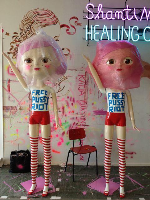 Katja Tukiainen, Kisu & Laura ä.k.a Free Pussy Riot Mannequins at my studio, fiberglass, 2012