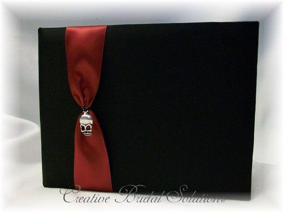 Offbeat Skull Black and Dark Red Wedding Guest Book by RammaRuRu