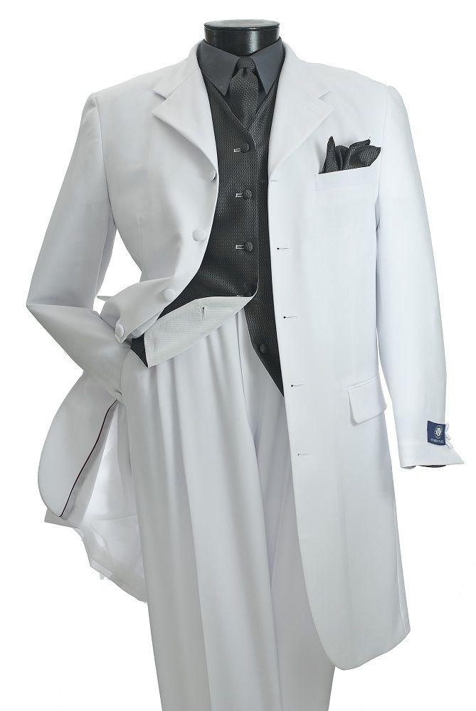 Vittorio St. Angelo Mens White 5 Piece Reversible Vest Zoot Suit T3036