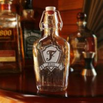 Personalized Crest w/Surname Vintage Glass Flask