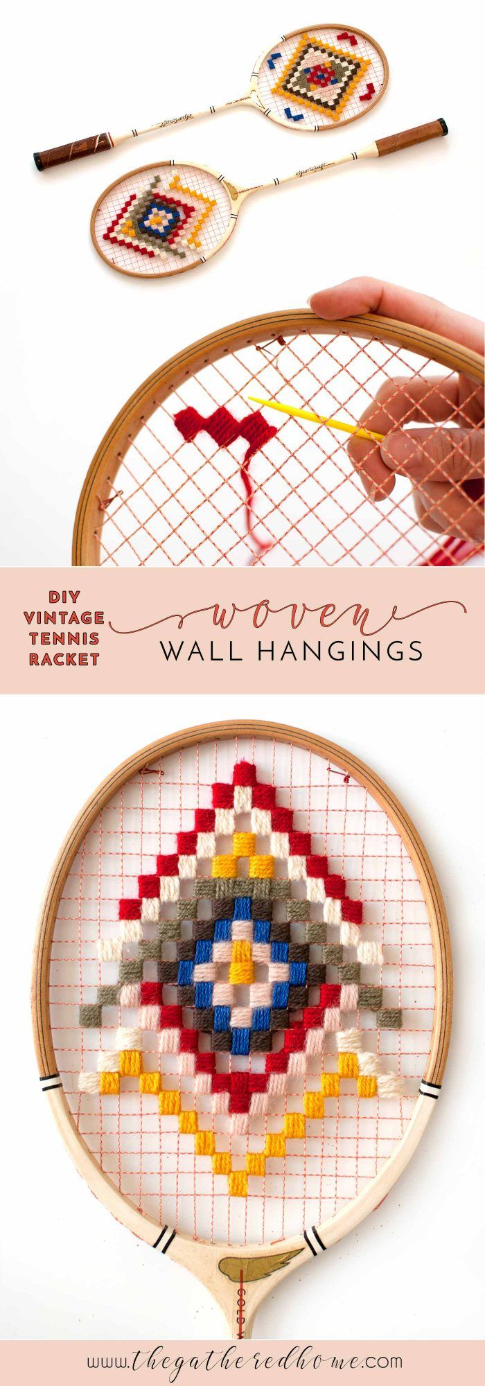 Thrifted vintage tennis rackets meet colorful yarn in this easy craft inspired by the wonderful world of Wes Anderson. Richie Tenenbaum approved.