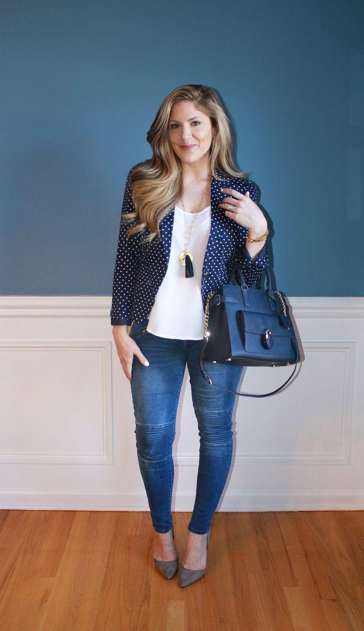 polka dots, blazer, denim, Michael Kors bag, Stella & Dot jewelry