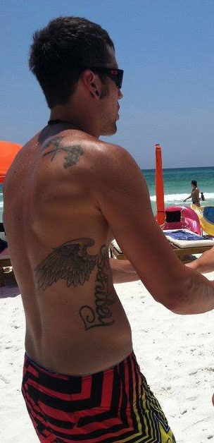Ryan Edwards (Teen Mom) tattoos. The wings have Bentleys name in them.