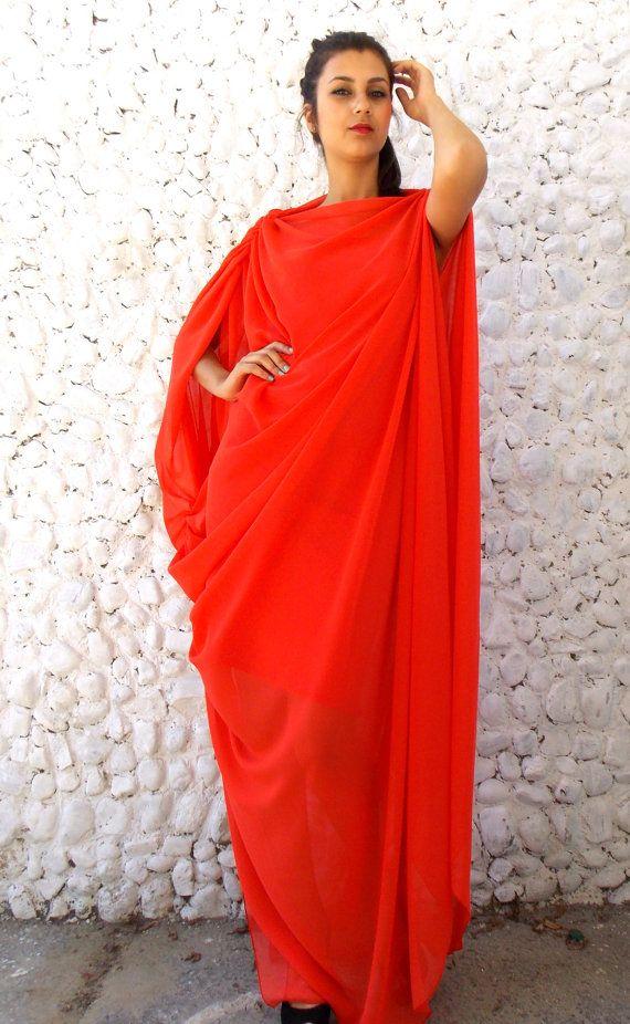 Asymmetric Maxi Kaftan Dress / Maxi Plus Size Kaftan / by Teyxo