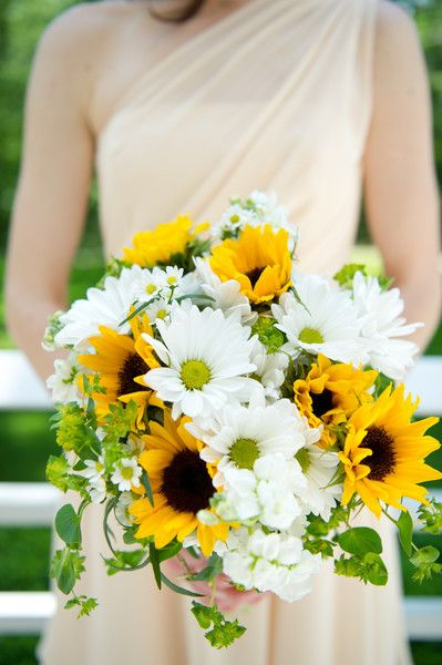 Sunflower wedding bouquet that we love! {Beyond The Lens Photography}