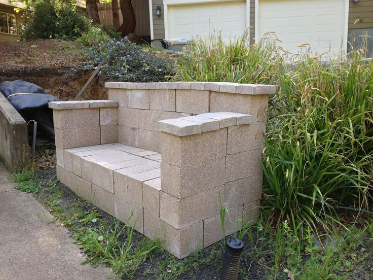 Cinder Block Bench Outdoor Kitchen Area Pinterest To