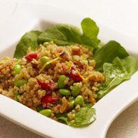 Warm quinoa & edimame salad