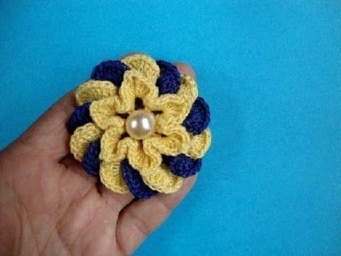 ▶ Crochet flower pattern Вязаные крючком цветы - Объёмный цветок - YouTube