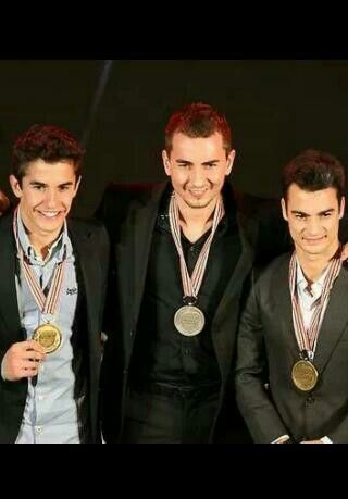 Marc Marquez, Jorge Lorenzo, Dani Pedrosa - 1st, 2nd, 3rd in the Moto GP Championship at the FIM award ceremony