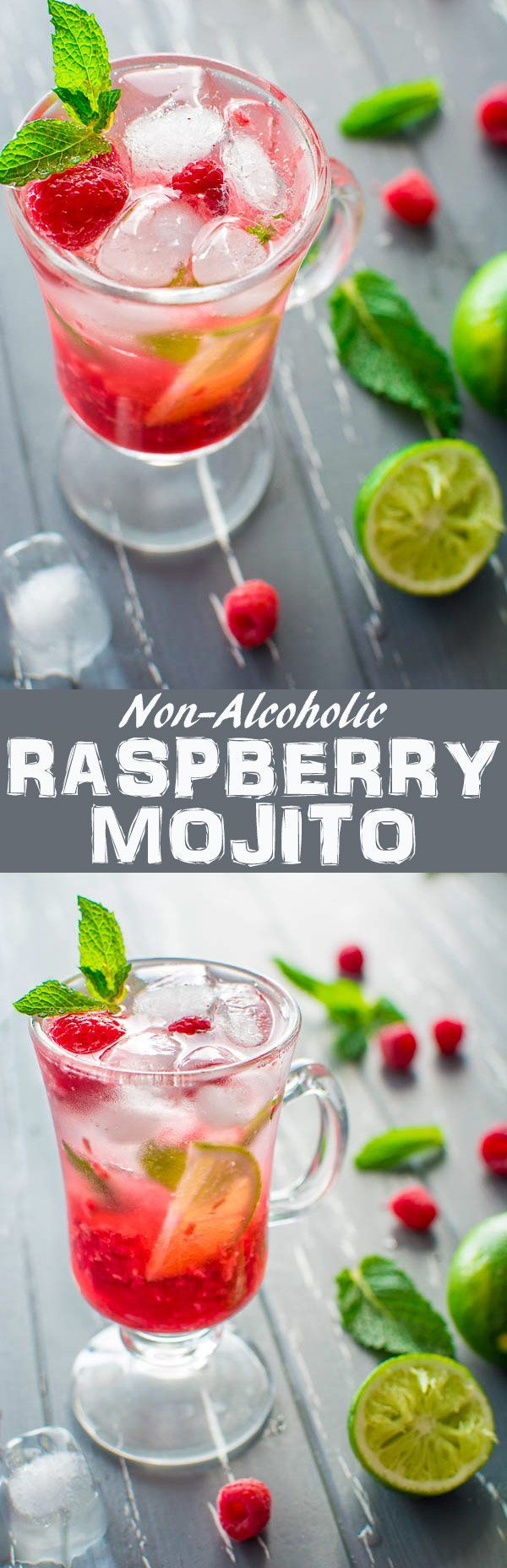 This refreshing Non-Alcoholic Raspberry Mojito is what you need on hot summer day. A combination of fresh raspberries, mint, lime juice, sparkling soda and a hint of sweetness will make you crave for more! ❤️ http://COOKTORIA.COM