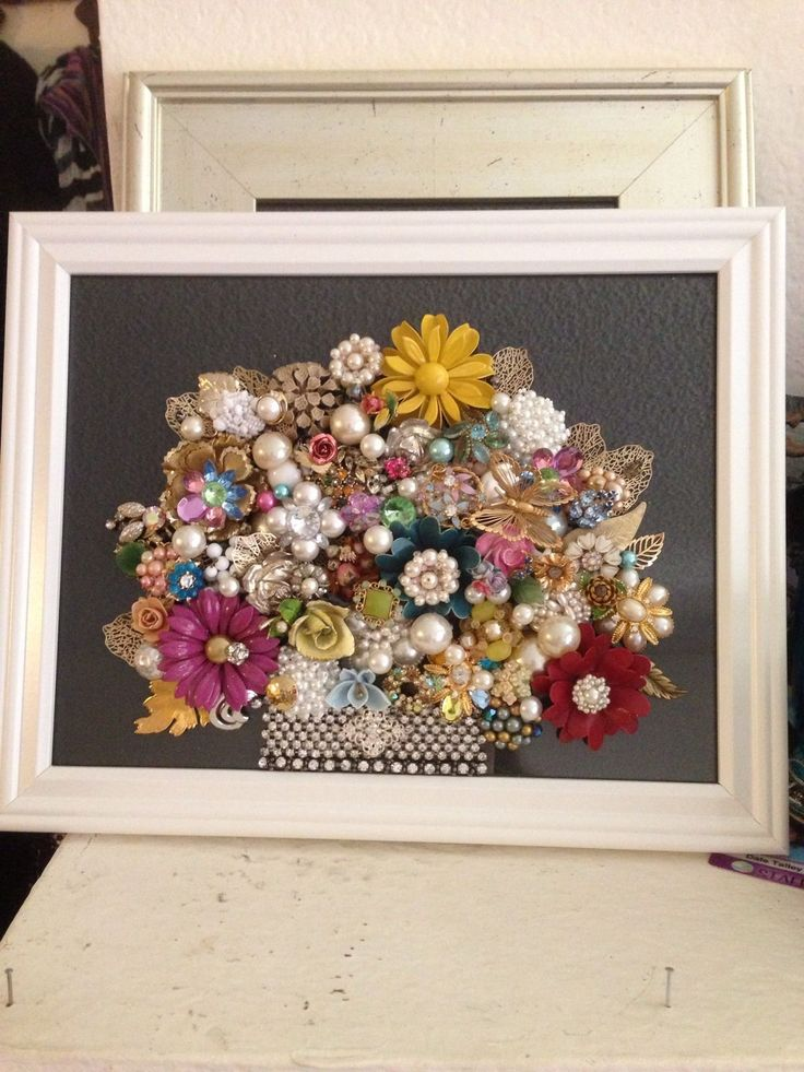 Vintage Jewelry Art Framed not Christmas Tree Floral Spring Upcycled Recycled | eBay
