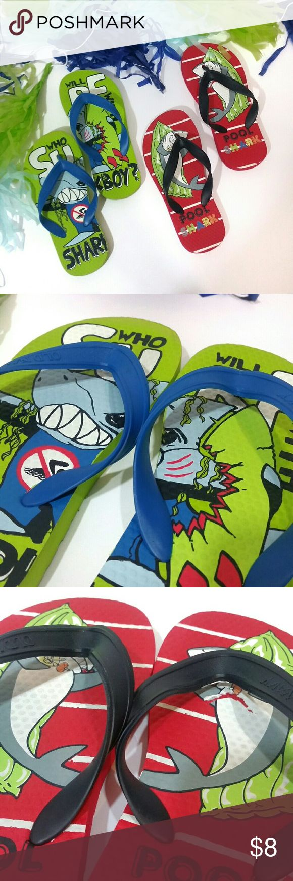 2 pair of boys Old Navy flip flops This listing is for 2 pair of Old Navy flip flops size 12-13. Please note: the graphic on the red flip flop is peeling a bit (see 3rd pic) Old Navy Shoes Sandals & Flip Flops