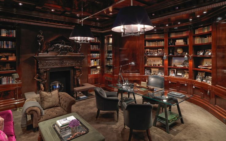 Gentleman 39 s study david collins private residential for Private library design
