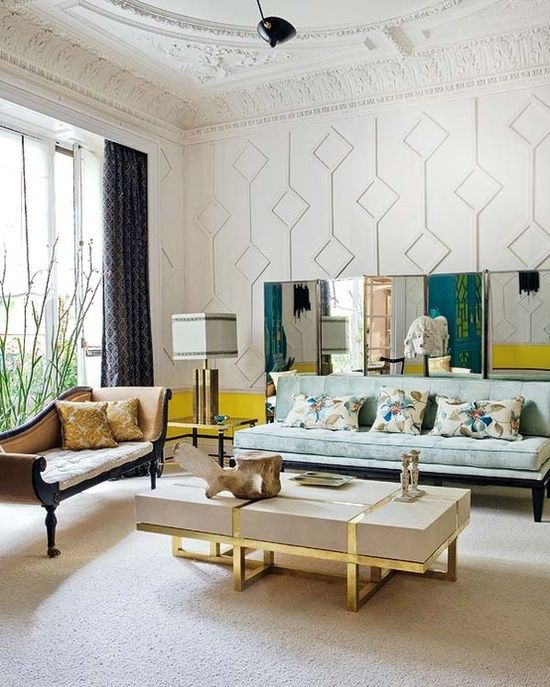Living Room Design - diamond pattern on the wall is awesome. Dining room