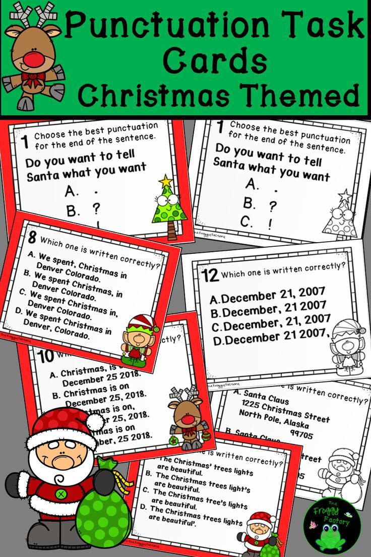 Do Your Students Need More Punctuation Practice These Punctuation Task Cards With A Christmas Theme Are Perfe Task Cards Christmas Teaching Holiday Worksheets