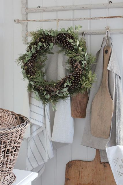 Winter Wreath of pine cones, evergreen, and eucalyptus - perfect winter decor.