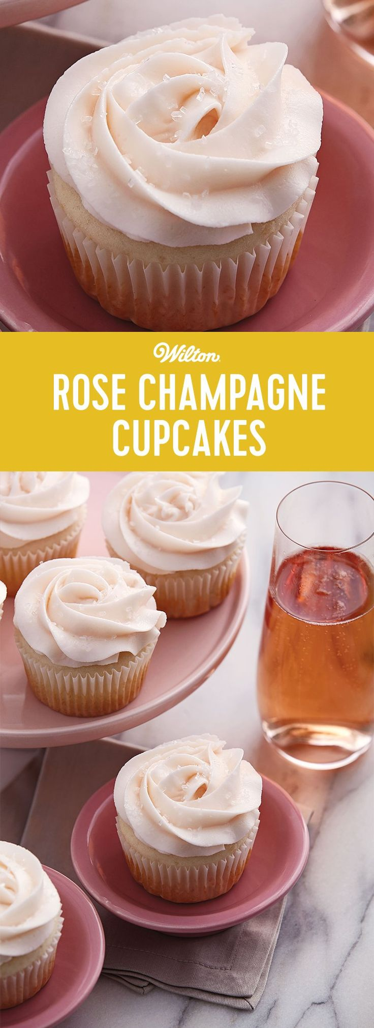 Rose Champagne Cupcakes - Add a little touch of elegance and sophistication to your New Year's Eve celebration with these Champagne Cupcakes with Rosewater Buttercream! This recipe is so easy to make and is perfect for last-minute treats. Recipe makes about 24 cupcakes.