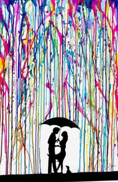 Art Couple Silhouette With Dog Umbrella Rain Melting Wax