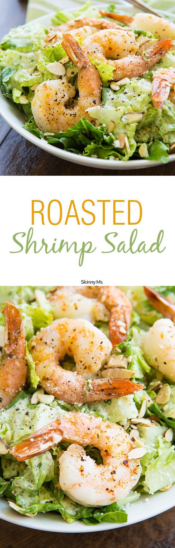 Roasted Shrimp Salad w/Buttermilk Cilantro Dressing. This salad is features lean protein and homemade clean eating dressing that is perfect for lunch or a light dinner.