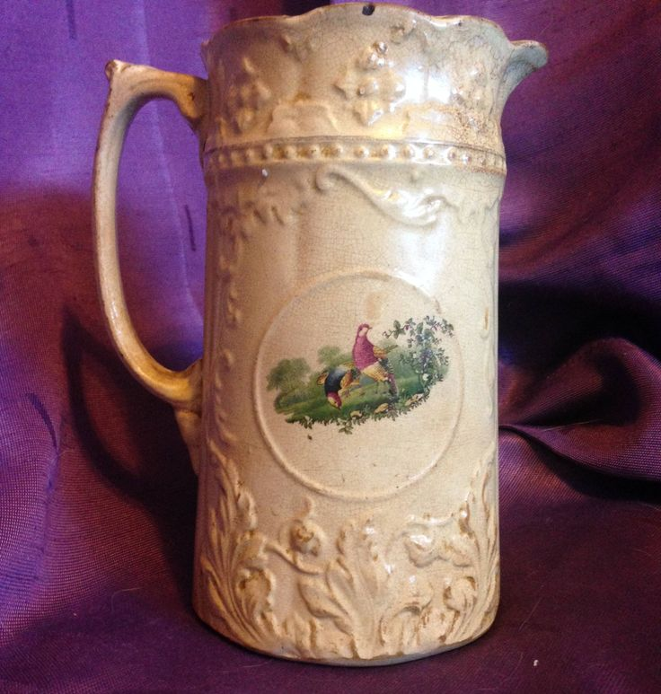 Rare antique pottery pitcher milk jug water pitcher pheasants pheasant birds earthenware ? - At Everything Vintage Shipping Is On Us! by EverythingVintageBC on Etsy