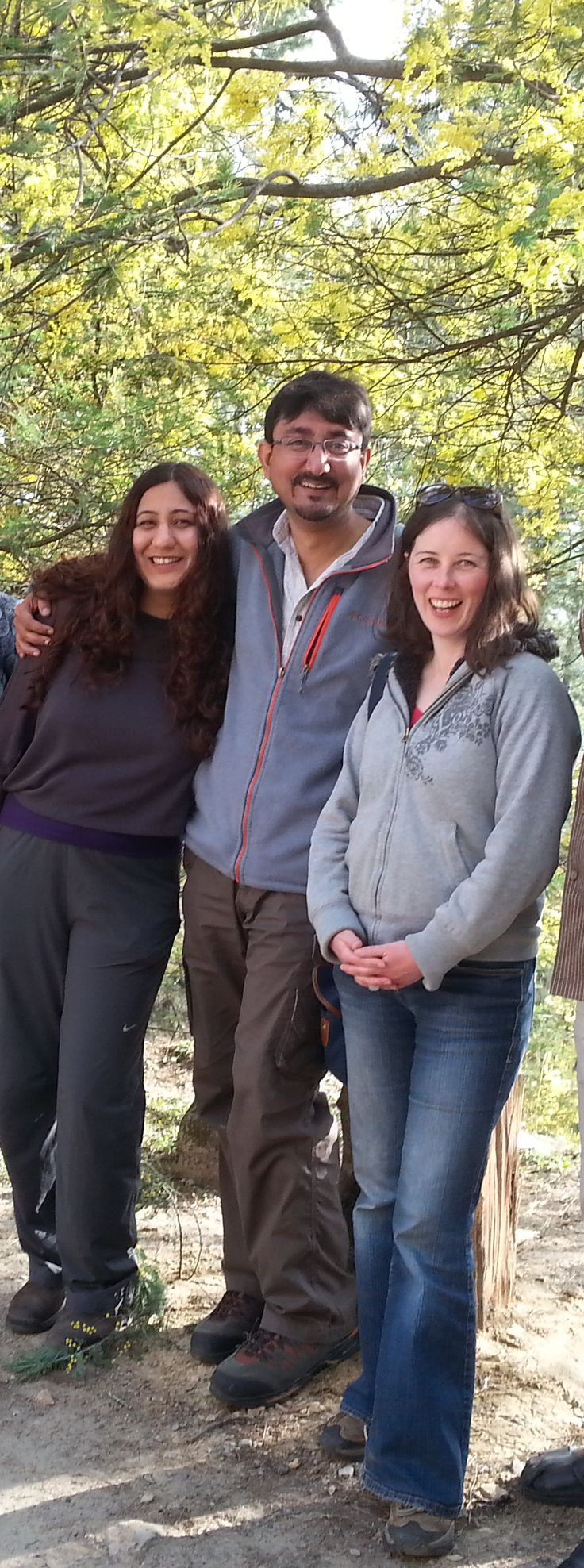Springtime in the Himalayas, 2014. Keya and Jagat Rathore (left and middle) met Satya Gillen, host of the Hazelnut Interviews, on a train to Delhi - plenty of time to get to know each other.