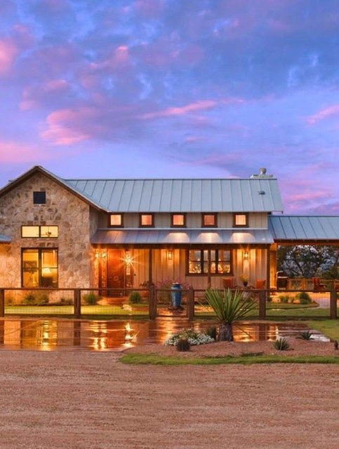 Modern Rustic Barn Style Retreat In Texas Hill Country Ranch House Designs Ranch House Exterior House Exterior