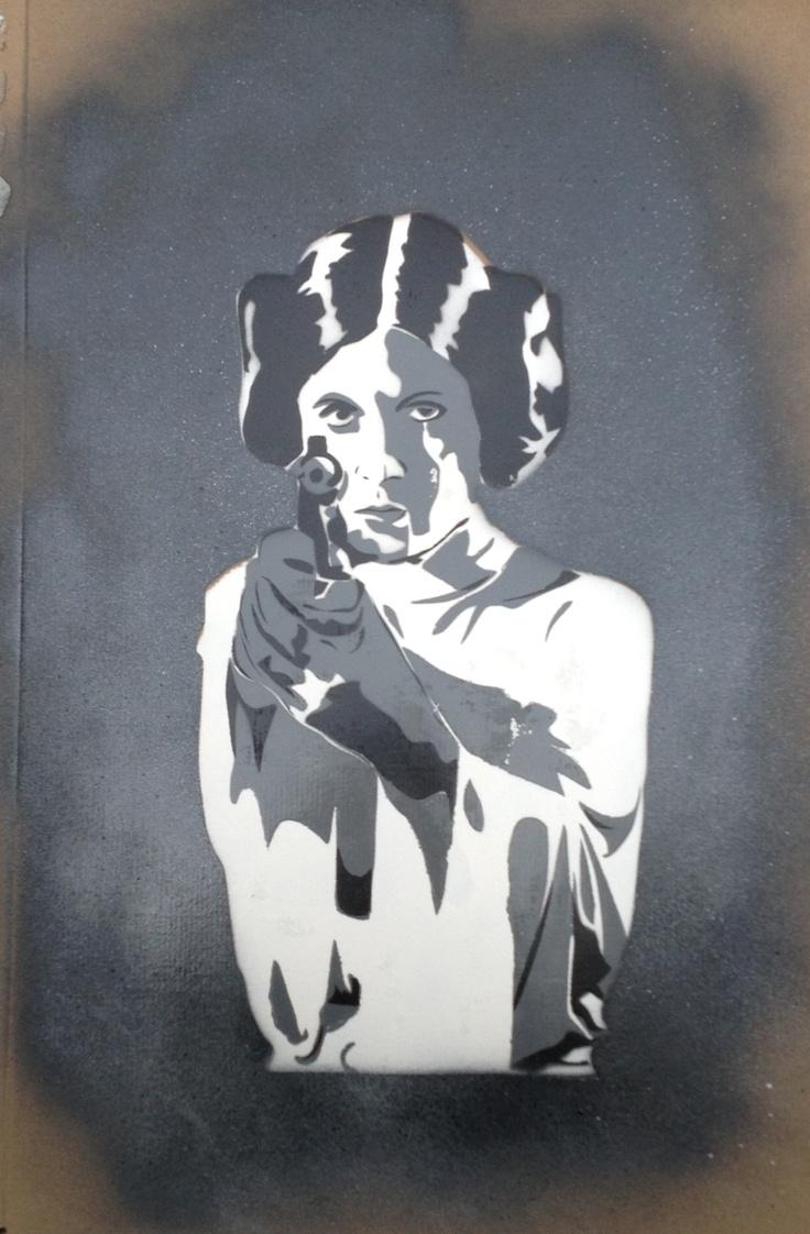 Stencil Princess Leia Stencil By Black Salamander